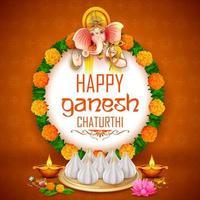 Lord Ganpati Hintergrund für das Ganesh Chaturthi Festival von Indien vektor