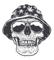 Rasta-Schädel in Hut und Sonnenbrille vektor