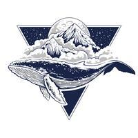 whale surrealistic vector art