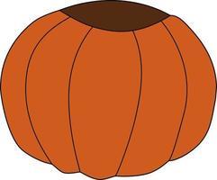 Vektor isoliertes Element orange rund geschnittener Kürbis.