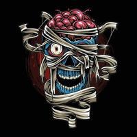 Halloween Totenkopf Mumie mit gruseliger Bandage als Design für den Halloween Tag vektor