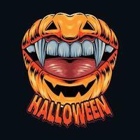 Lippenförmiger Halloween-Kürbis mit hübschen Vampirzähnen vektor