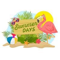 Sommerszene mit Holzschild, Flamingo und Palmen vektor