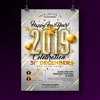 Party-Plakat des neuen Jahres 2019