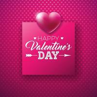 Happy Valentines Day Design mit glänzendem Herzen