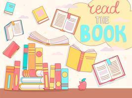 Läs bokkonceptet, stäng och öppna böcker. vektor