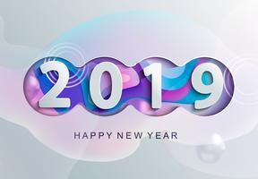 2019 Kreativt gott nytt årskort i pappersstil. vektor