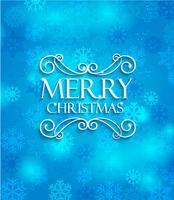 Frohe Weihnachten auf blauem Hintergrund.