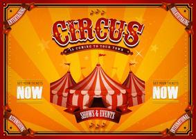 Vintage cirkusaffisch med stor topp vektor