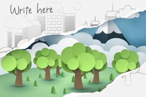 Zerrissene 2D-Handzeichnung von Baum- und Stadtpapier, sehen Sie durch Papierkunst 3D