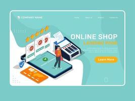 Online-Shop-Landingpage mit Mann, der mit Handy kauft. vektor