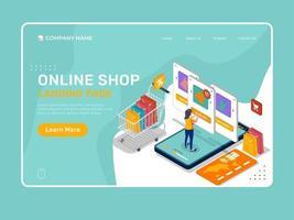 Online-Shop-Landing-Page-Illustration mit Frauen- und Produktliste. vektor