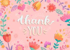 Tack till handskriven bokstäver med blommor. vektor