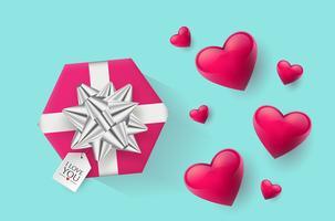 Festliche Tapete verziert mit Herzen und Geschenken. Vektor-Illustration
