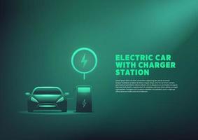 E-Auto oder elektrisches Laden an der Ladestation. vektor