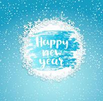 Frohes neues Jahr, Rahmen aus Schneeflocken.
