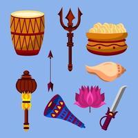 Navratri Festival Instrumente und Ornamente vektor