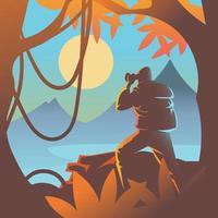ein Mann, der in den Bergen wandert vektor