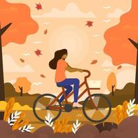 Frau fährt am Herbstabend Fahrrad vektor