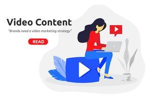 Social video marknadsföring koncept modern platt design.