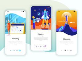 Set von Onboarding-Bildschirmen für die Benutzeroberfläche für Planung, Start, Erfolg