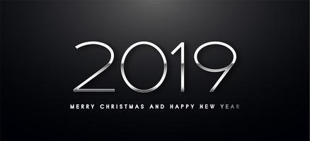 Vektor-Grußillustration des Feiertags 2019 mit silbernen Zahlen.