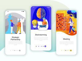Set med inbyggda skärmar användargränssnitt för partnerskap, brainstorming vektor