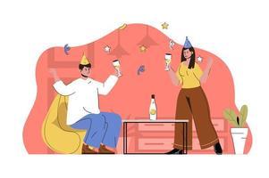 Party startete Konzept für Website und mobile Website vektor