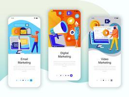 Set Onboarding-Bildschirme für die Benutzeroberfläche für Video, E-Mail und digitales Marketing