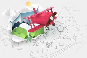 Papierkunst des rosa Flugzeugfliegens durch Papier des Handzeichnungswaldes und -flusses