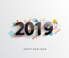 Modernt 2019 designkort. Vektor.