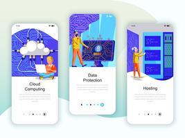 Set med inbyggda skärmar användargränssnitt för Cloud Computing, Protection vektor