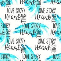 Romantiskt citat sömlöst mönster. Kärlekstextryck för valentinsdag. Handbokstyp typografi design vektor