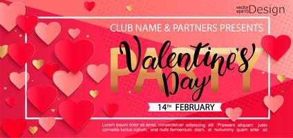 Karte für glückliche Valentinstag-Party. vektor