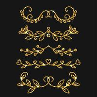Dividers set. Vektor guld utsmyckad design. Gyllene blomstrar.