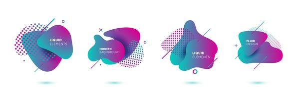 Gradient abstrakta banderoller med flytande flytande former vektor
