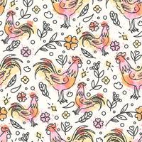 Hand gezeichnetes nahtloses Muster des Hahns. Chinesisches Neujahr vektor