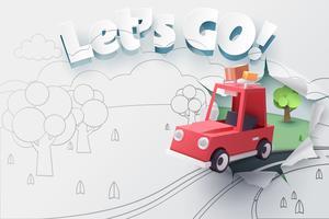 Papperskonst av röd bil som hoppar ut från 2D-skiss till 3D-papper med rippat, låt oss gå till text