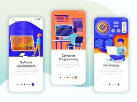 Set von Onboarding Screens User Interface Kit für Entwicklung, Programmierung