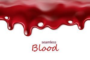 Sömlös droppande blod repeterbar isolerad på vit bakgrund