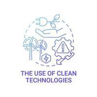 Verwendung von sauberen Technologien Farbverlauf blaues Konzeptsymbol vektor