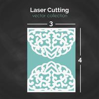 Laser Cut Card. Mall för skärning. Cutout Illustration. vektor
