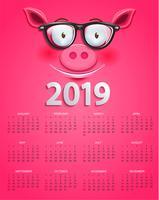 Gullig kalender för 2019 år med smart gris ansikte