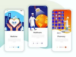 Set mit Onboarding-Bildschirmen für die Benutzeroberfläche für Medizin, Gesundheitswesen, Pharmazie
