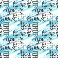 Nahtloses Muster des romantischen Zitats. Liebestext für Valentinstag. Grußkarte Design. Aquarellhintergrund getrennt auf Weiß. vektor
