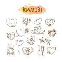 Romantische Illustrationen. Hand gezeichneter Hochzeitssatz. Gekritzelartelemente für glücklichen Valentinstag.