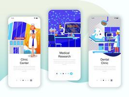 Set av inbyggda skärmar användargränssnitt för medicin, forskning vektor