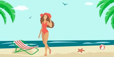 Sommerillustration einer Frau im Badeanzug am Meer. vektor