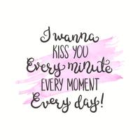 Romantiskt citat. Kärlek text för valentin dag. Hälsningskortdesign. Vektor illustration för tryck. Akvarell bakgrund isolerad på vitt.