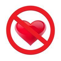 Ban Liebe Herz. Symbol der verbotenen und aufhören Liebe